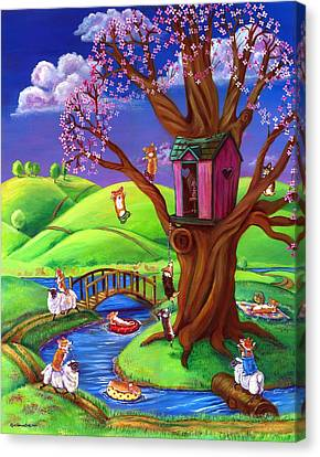 Corgis Bodacious Spring Fling Canvas Print by Lyn Cook