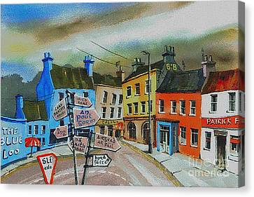 Cork... Glengarriff Signposts Canvas Print by Val Byrne