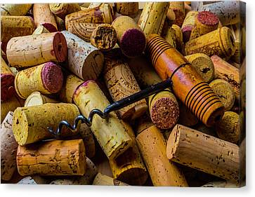 Corks And Corkscrew Canvas Print by Garry Gay
