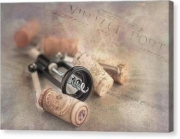 Corkscrew And Wine Corks Canvas Print by Tom Mc Nemar
