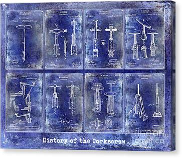 Corkscrew Patent History Blue Canvas Print by Jon Neidert