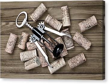 Cork Canvas Print - Corkscrew With Wine Corks by Tom Mc Nemar