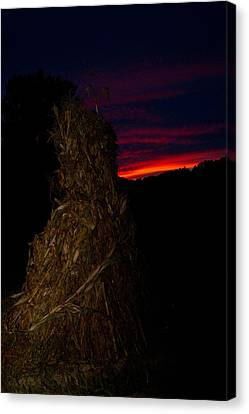Corn Shock At Twilight Canvas Print by Douglas Barnett