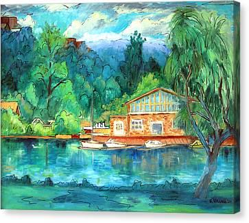 Cornell Boathouse Canvas Print by Ethel Vrana