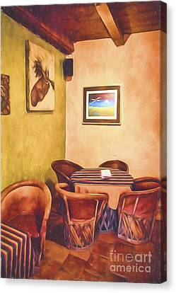 Corner Booth  ... Canvas Print by Chuck Caramella