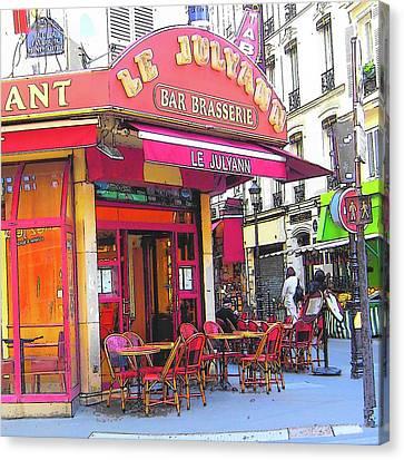 Corner Cafe In Montmartre Paris Canvas Print by Jan Matson