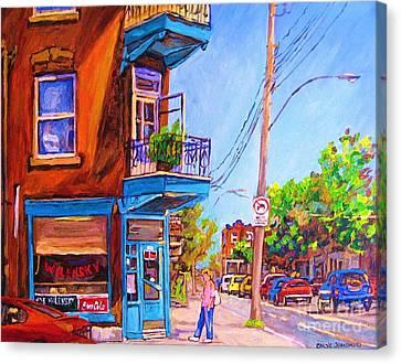 Corner Deli Lunch Counter Canvas Print by Carole Spandau