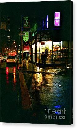 Canvas Print featuring the photograph Corner In The Rain by Miriam Danar