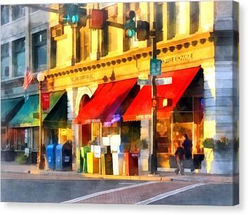 Awning Canvas Print - Corner Of Center And Merchant Rutland Vt by Susan Savad