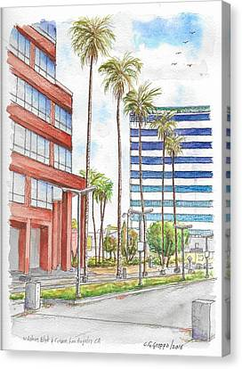 Corner Wilshire Blvd. And Curson, Miracle Mile, Los Angeles, Ca Canvas Print by Carlos G Groppa