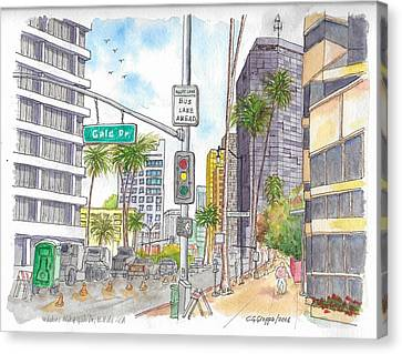 Corner Wilshire Blvd. And Gale Dr., Beverly Hills, Ca Canvas Print by Carlos G Groppa