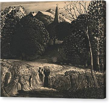 Cornfield And Church By Moonlight Canvas Print