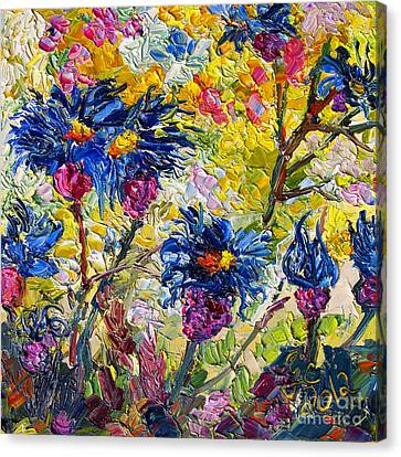 Canvas Print featuring the painting Cornflowers Impressionist Oil Painting by Ginette Callaway