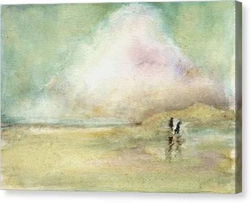 Corolla Beach Stroll Canvas Print by Donna Elio