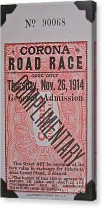 Corona Road Race 1914 Canvas Print by Gwyn Newcombe