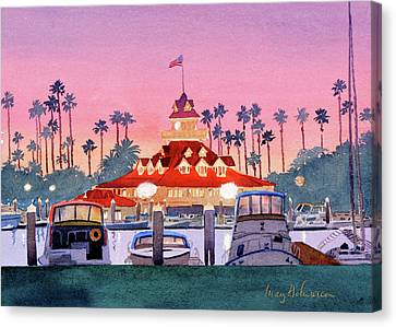 Coronado Boathouse After Sunset Canvas Print by Mary Helmreich