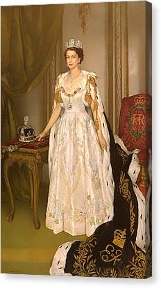 Coronation Portrait Of Queen Elizabeth II Of The United Kingdom Canvas Print by Mountain Dreams