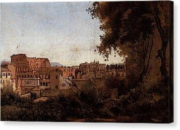 Corot Rome View From The Farnese Gardens Noon Aka Study Of The Coliseum Canvas Print
