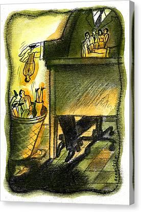 Corporate Downsizing Canvas Print by Leon Zernitsky
