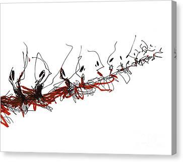 Corps De Ballet In Red Tutus Canvas Print by Lousine Hogtanian