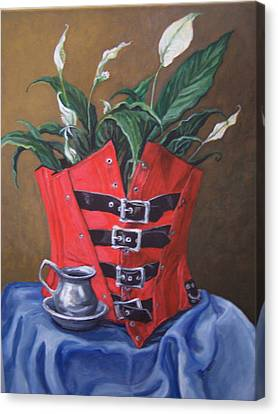Canvas Print featuring the painting Corset And Calla Lily by Laura Aceto