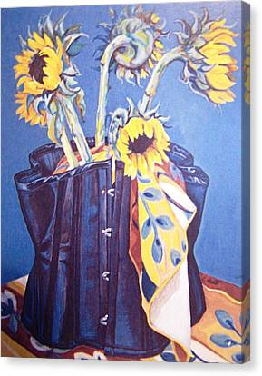 Canvas Print featuring the painting Corset And Sunflowers by Laura Aceto
