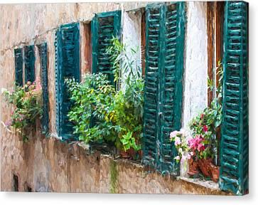 Cortona Window Flowers Canvas Print