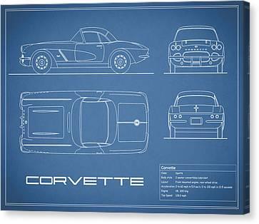 Corvette C1 Blueprint Canvas Print by Mark Rogan
