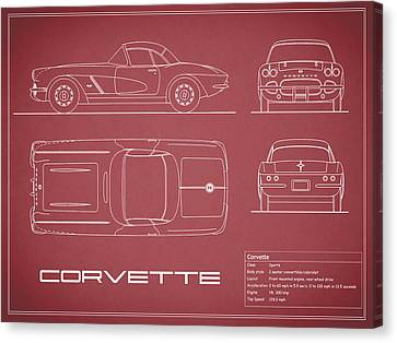 Corvette C1 Blueprint - Red Canvas Print by Mark Rogan