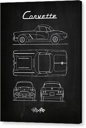Corvette Chalkboard Canvas Print by Mark Rogan