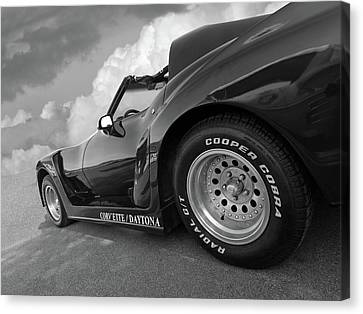 Canvas Print featuring the photograph Corvette Daytona In Black And White by Gill Billington