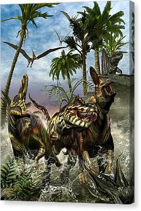 Corythosaurus Last Run Canvas Print by Kurt Miller