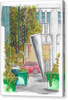 Cosimo Pizzuli Sculpture In Wilshire Blvd. And Robertson, Beverly Hills, California Canvas Print by Carlos G Groppa