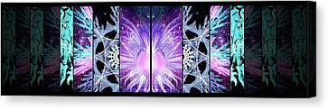 Canvas Print featuring the mixed media Cosmic Collage Mosaic Left Mirrored by Shawn Dall