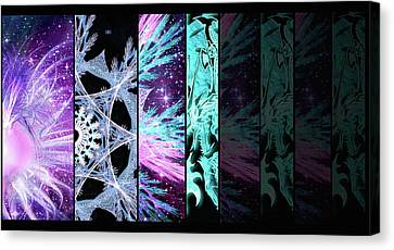 Canvas Print featuring the mixed media Cosmic Collage Mosaic Left Side Flipped by Shawn Dall