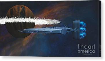 Cosmic Spaceship Canvas Print by Corey Ford