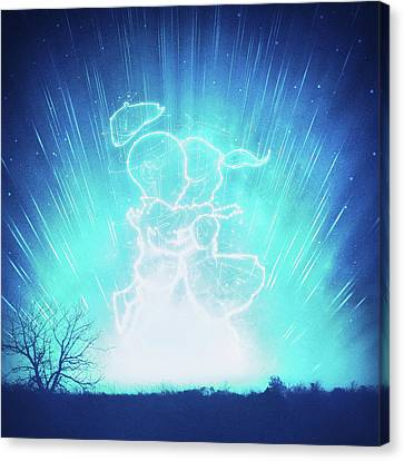 Cosmo And Celeste Colorful Cosmological Night Sky Couple In Love Ice Blue  Canvas Print by Philipp Rietz