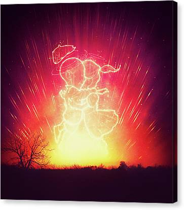 Cosmo And Celeste Colorful Cosmological Night Sky Couple In Love  Canvas Print by Philipp Rietz