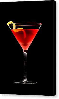 Cosmopolitan Cocktail In Front Of A Black Background  Canvas Print