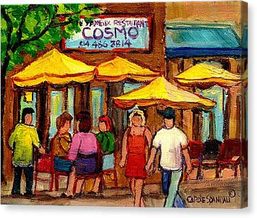 Cosmos  Fameux Restaurant On Sherbrooke Canvas Print by Carole Spandau