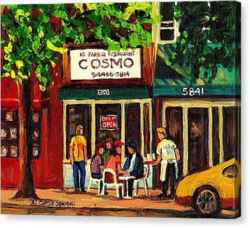 Cosmos Famous Montreal Breakfast Restaurant Canvas Print by Carole Spandau