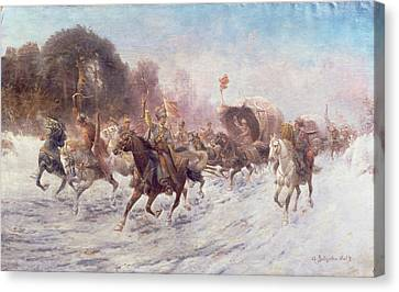 Cossacks In A Winter Landscape   Canvas Print by Anton Baumgartner Stoiloff