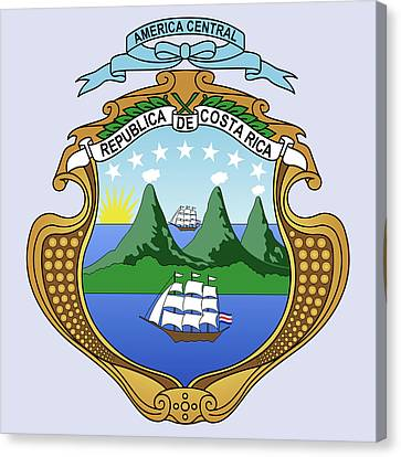 Costa Rica Coat Of Arms Canvas Print by Movie Poster Prints