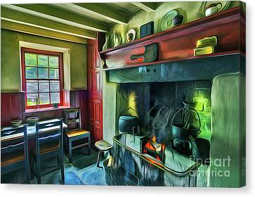 Cosy Cottage Oil Painting Canvas Print