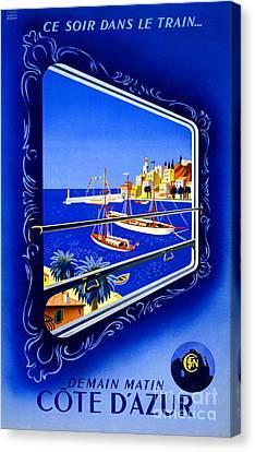 Cote D'azur Vintage Poster Restored Canvas Print
