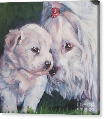 Coton De Tulear With Pup Canvas Print by Lee Ann Shepard