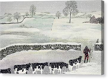 Cotswold - Winter Scene Canvas Print by Maggie Rowe