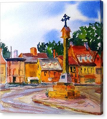 Cotswolds Town Center Canvas Print by Larry Hamilton