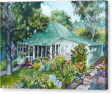 Canvas Print featuring the painting Cottage At Chautauqua by Anne Gifford