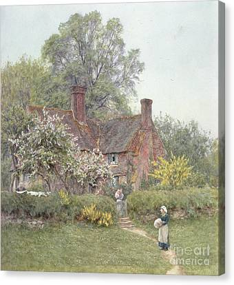 Country Cottage Canvas Print - Cottage At Chiddingfold by Helen Allingham